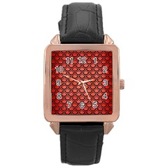 Scales2 Black Marble & Red Brushed Metal Rose Gold Leather Watch  by trendistuff