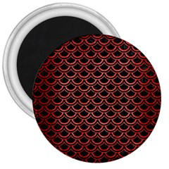 Scales2 Black Marble & Red Brushed Metal (r) 3  Magnets by trendistuff