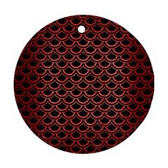 Scales2 Black Marble & Red Brushed Metal (r) Round Ornament (two Sides) by trendistuff