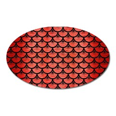 Scales3 Black Marble & Red Brushed Metal Oval Magnet by trendistuff