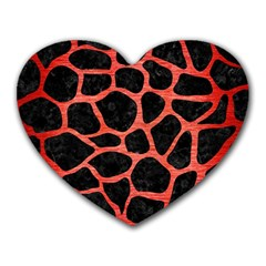 Skin1 Black Marble & Red Brushed Metal Heart Mousepads by trendistuff