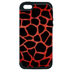 Skin1 Black Marble & Red Brushed Metal Apple Iphone 5 Hardshell Case (pc+silicone) by trendistuff