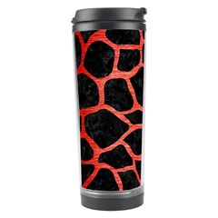 Skin1 Black Marble & Red Brushed Metal Travel Tumbler by trendistuff
