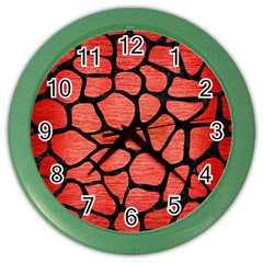 Skin1 Black Marble & Red Brushed Metal (r) Color Wall Clocks