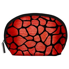 Skin1 Black Marble & Red Brushed Metal (r) Accessory Pouches (large)  by trendistuff