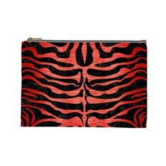 Skin2 Black Marble & Red Brushed Metal (r) Cosmetic Bag (large)  by trendistuff