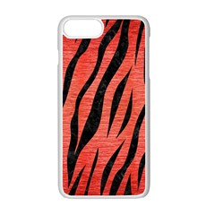 Skin3 Black Marble & Red Brushed Metal Apple Iphone 7 Plus White Seamless Case by trendistuff