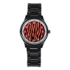 Skin4 Black Marble & Red Brushed Metal Stainless Steel Round Watch by trendistuff