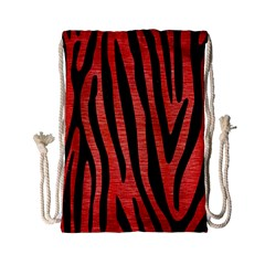 Skin4 Black Marble & Red Brushed Metal (r) Drawstring Bag (small) by trendistuff