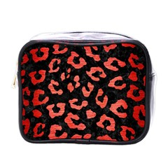 Skin5 Black Marble & Red Brushed Metal Mini Toiletries Bags by trendistuff