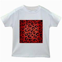 Skin5 Black Marble & Red Brushed Metal (r) Kids White T Shirts by trendistuff