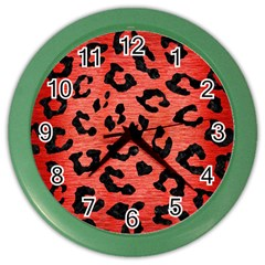 Skin5 Black Marble & Red Brushed Metal (r) Color Wall Clocks