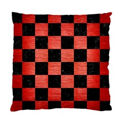 Square1 Black Marble & Red Brushed Metal Standard Cushion Case (two Sides)