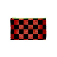 Square1 Black Marble & Red Brushed Metal Cosmetic Bag (xs) by trendistuff