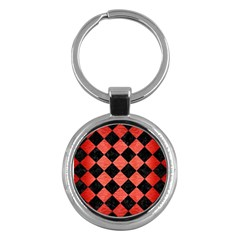 Square2 Black Marble & Red Brushed Metal Key Chains (round)  by trendistuff