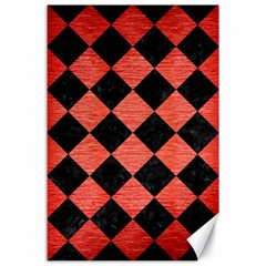Square2 Black Marble & Red Brushed Metal Canvas 24  X 36