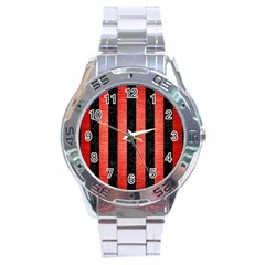 Stripes1 Black Marble & Red Brushed Metal Stainless Steel Analogue Watch by trendistuff