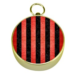 Stripes1 Black Marble & Red Brushed Metal Gold Compasses by trendistuff