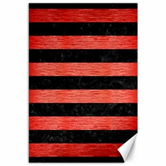 Stripes2 Black Marble & Red Brushed Metal Canvas 12  X 18   by trendistuff