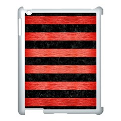 Stripes2 Black Marble & Red Brushed Metal Apple Ipad 3/4 Case (white) by trendistuff