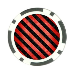Stripes3 Black Marble & Red Brushed Metal Poker Chip Card Guard (10 Pack) by trendistuff