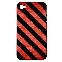 Stripes3 Black Marble & Red Brushed Metal Apple Iphone 4/4s Hardshell Case (pc+silicone) by trendistuff