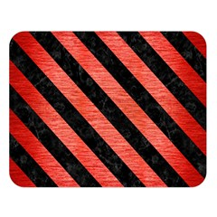 Stripes3 Black Marble & Red Brushed Metal Double Sided Flano Blanket (large)