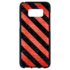 Stripes3 Black Marble & Red Brushed Metal Samsung Galaxy S8 Black Seamless Case by trendistuff