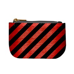 Stripes3 Black Marble & Red Brushed Metal (r) Mini Coin Purses by trendistuff