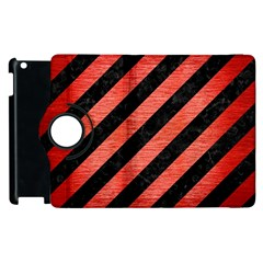 Stripes3 Black Marble & Red Brushed Metal (r) Apple Ipad 3/4 Flip 360 Case by trendistuff