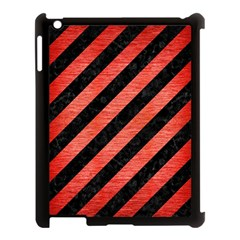 Stripes3 Black Marble & Red Brushed Metal (r) Apple Ipad 3/4 Case (black) by trendistuff
