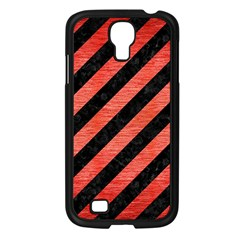 Stripes3 Black Marble & Red Brushed Metal (r) Samsung Galaxy S4 I9500/ I9505 Case (black) by trendistuff