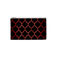 Tile1 Black Marble & Red Brushed Metal (r) Cosmetic Bag (small)  by trendistuff