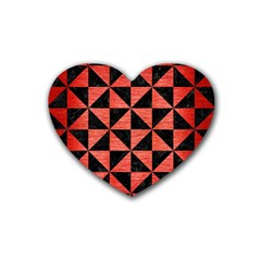 Triangle1 Black Marble & Red Brushed Metal Heart Coaster (4 Pack)  by trendistuff