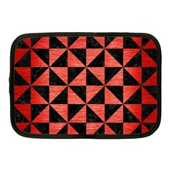 Triangle1 Black Marble & Red Brushed Metal Netbook Case (medium)