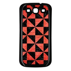 Triangle1 Black Marble & Red Brushed Metal Samsung Galaxy S3 Back Case (black) by trendistuff