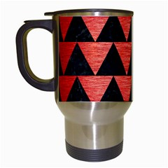 Triangle2 Black Marble & Red Brushed Metal Travel Mugs (white) by trendistuff