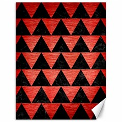Triangle2 Black Marble & Red Brushed Metal Canvas 12  X 16   by trendistuff