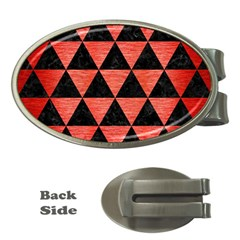 Triangle3 Black Marble & Red Brushed Metal Money Clips (oval)  by trendistuff
