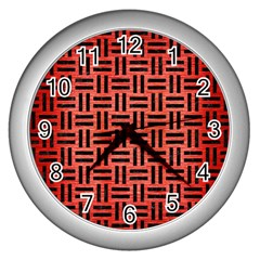 Woven1 Black Marble & Red Brushed Metal Wall Clocks (silver)  by trendistuff
