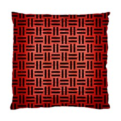 Woven1 Black Marble & Red Brushed Metal Standard Cushion Case (one Side) by trendistuff