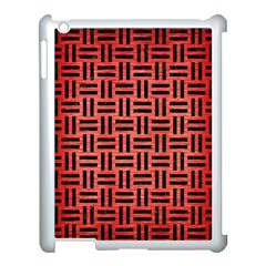 Woven1 Black Marble & Red Brushed Metal Apple Ipad 3/4 Case (white) by trendistuff