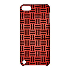Woven1 Black Marble & Red Brushed Metal Apple Ipod Touch 5 Hardshell Case With Stand by trendistuff
