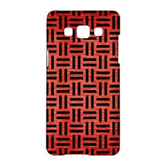 Woven1 Black Marble & Red Brushed Metal Samsung Galaxy A5 Hardshell Case  by trendistuff