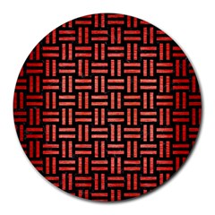 Woven1 Black Marble & Red Brushed Metal (r) Round Mousepads by trendistuff
