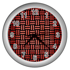 Woven1 Black Marble & Red Brushed Metal (r) Wall Clocks (silver)  by trendistuff