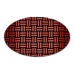 Woven1 Black Marble & Red Brushed Metal (r) Oval Magnet