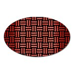 WOVEN1 BLACK MARBLE & RED BRUSHED METAL (R) Oval Magnet Front