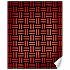 Woven1 Black Marble & Red Brushed Metal (r) Canvas 16  X 20   by trendistuff