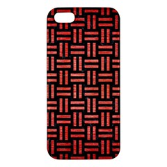Woven1 Black Marble & Red Brushed Metal (r) Apple Iphone 5 Premium Hardshell Case by trendistuff